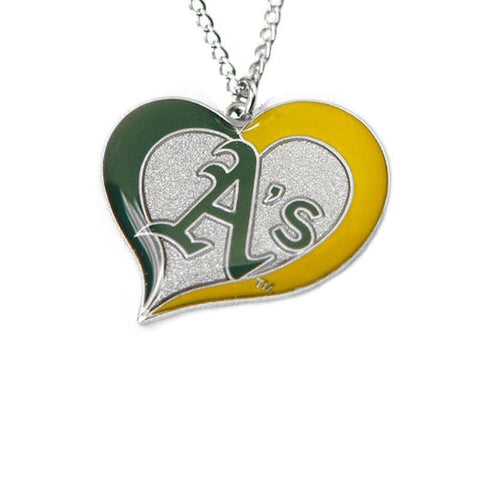 Necklace - Oakland Athletics Women's Swirl Heart Necklace