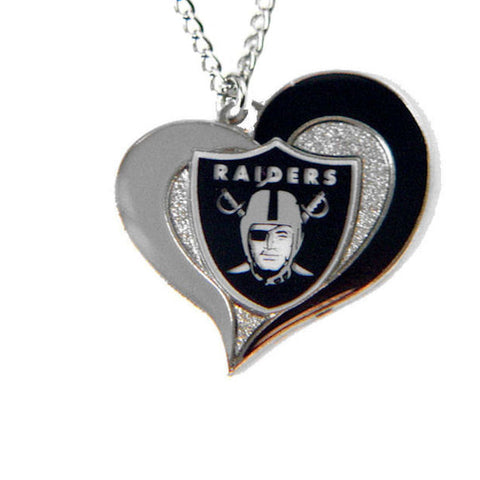 Necklace - Oakland Raiders Women's Swirl Heart Necklace