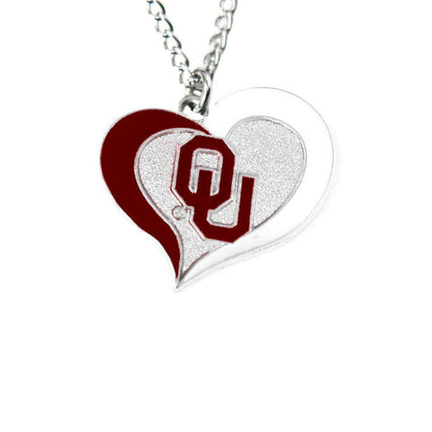 Necklace - Oklahoma Sooners Women's Swirl Heart Necklace