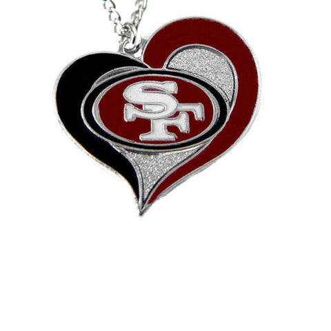 Necklace - San Francisco 49ers Women's Swirl Heart Necklace