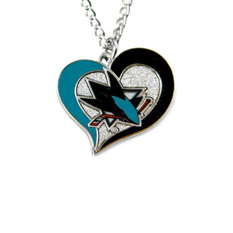 Necklace - San Jose Sharks Women's Swirl Heart Necklace