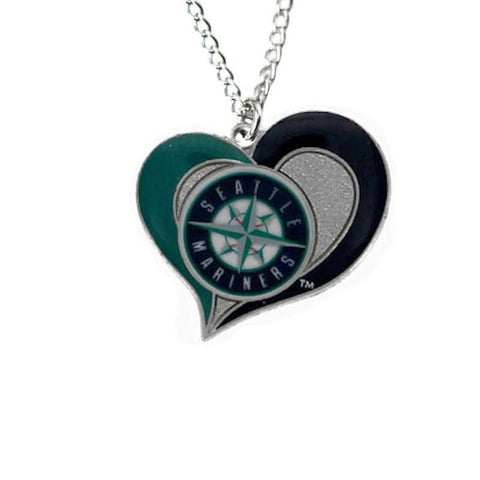 Necklace - Seattle Mariners Women's Swirl Heart Necklace