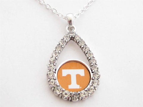 Necklace - Tennessee Volunteers NCAA Teardrop Clear Crystal Silver Necklace