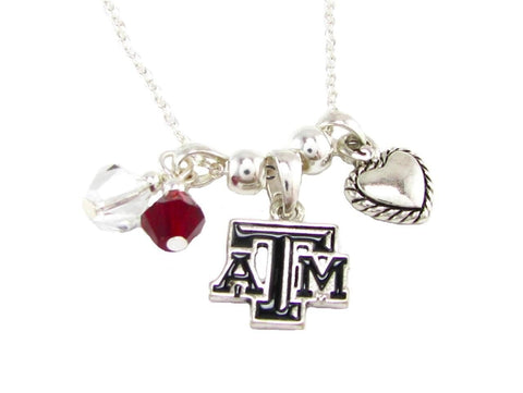 Necklace - Texas A&M NCAA Austrian Crystal Silver Necklace