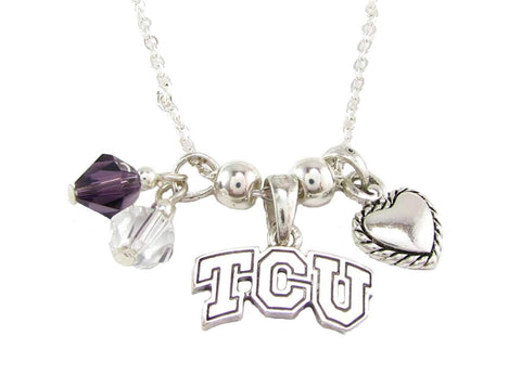 Necklace - Texas Christian Horned Frogs NCAA Austrian Crystal Silver Necklace