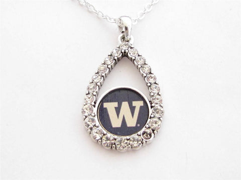 Necklace - Washington Huskies NCAA Teardrop Clear Crystal Silver Necklace