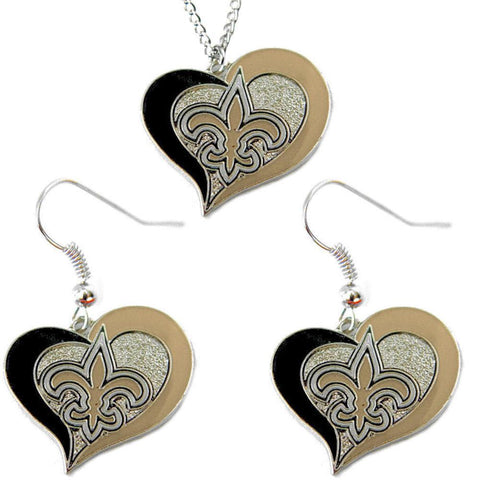 New Orleans Saints Women's Swirl Heart Necklace & Earrings Set