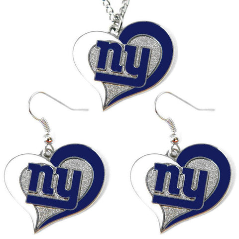 New York Giants Women's Swirl Heart Necklace & Earrings Set