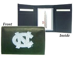 North Carolina Tar Heels Embroidered Leather Tri-Fold Wallet