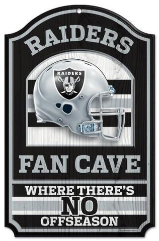 "Oakland Raiders Wood Sign - 11""x17"" Fan Cave Design"