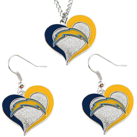 San Diego Chargers Women's Swirl Heart Necklace & Earrings Set