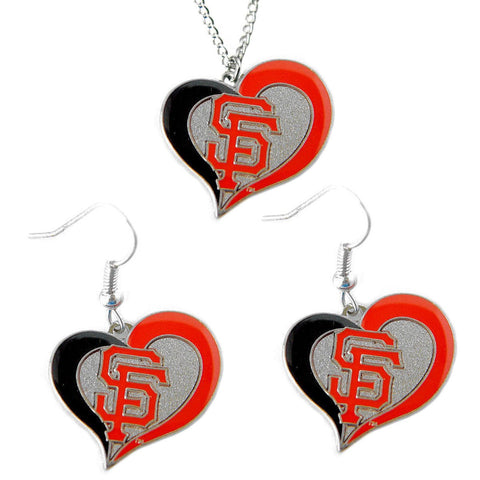 San Francisco Giants Women's Swirl Heart Necklace & Earrings Set