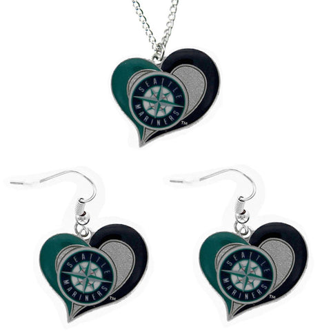 Seattle Mariners Women's Swirl Heart Necklace & Earrings Set