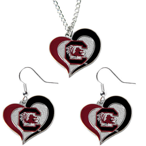 South Carolina Gamecocks Women's Swirl Heart Necklace & Earrings Set