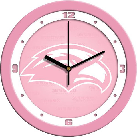 Southern Mississippi Eagles Pink Wall Clock