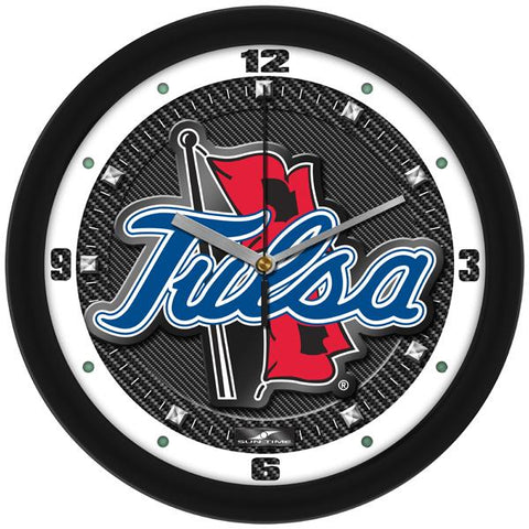 Tulsa Golden Hurricane Carbon Fiber Textured Wall Clock