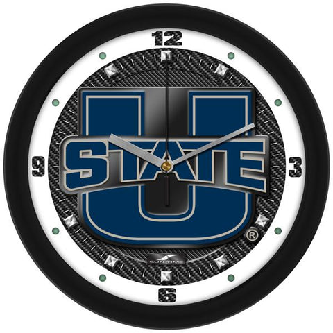 Utah State University Aggies Carbon Fiber Textured Wall Clock