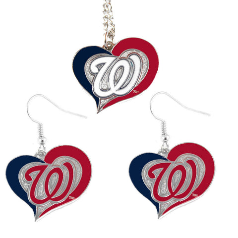 Washington Nationals Women's Swirl Heart Necklace & Earrings Set