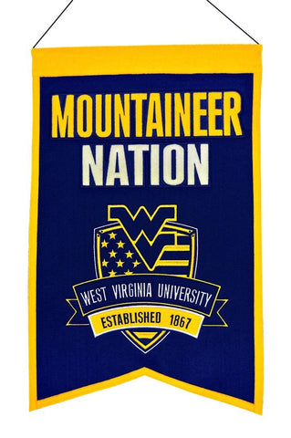 West Virginia Mountaineers Wool Nations Banner