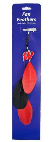 Wisconsin Badgers Team Color Feather Hair Clip