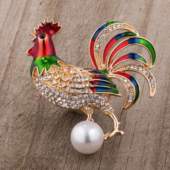 Gold Tone Multicolor Enamel Rooster Brooch With Crystals