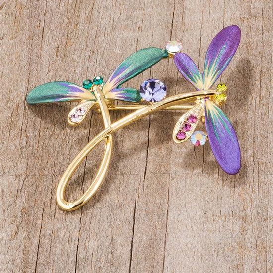Gold Tone And Purple Dragonfly Brooch With Crystals