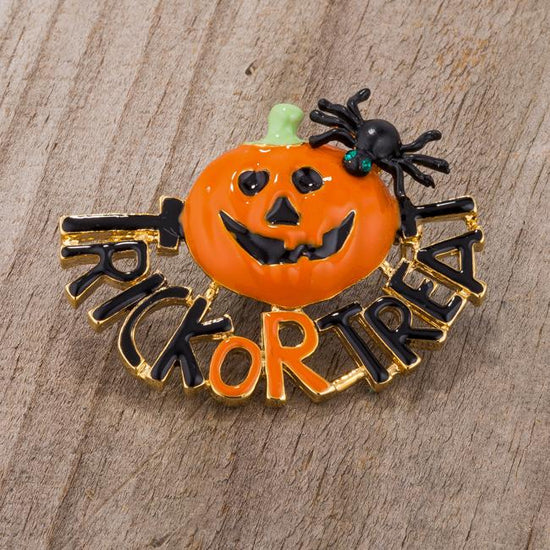 Jack-O'-Lantern Brooch With Crystals