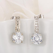 Antique Round Clear CZ Drop Earrings