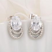 Antique Oval Clear CZ Earrings