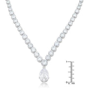 Bejeweled Cubic Zirconia Pear Drop Necklace