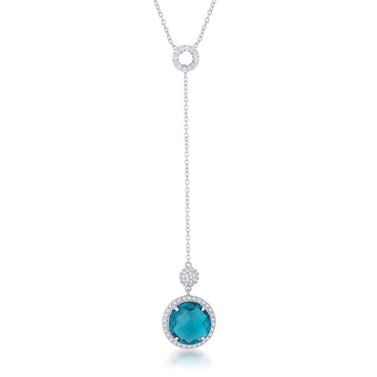 Lori 10.9ct Aqua CZ Rhodium Classic Drop Lariat Necklace