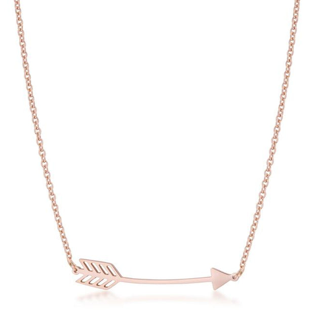 Arianna Rose Gold Stainless Steel Arrow Necklace