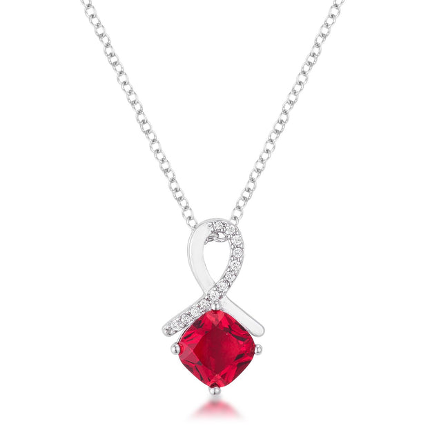 8mm Cushion Cut Cubic Zirconia Garnet Fashion Pendant