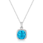 10mm Cushion Cut Aqua Cubic Zirconia Fashion Pendant
