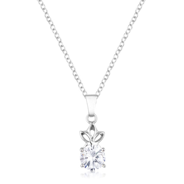 8mm Round Cut Clear Cubic Zirconia Fashion Pendant