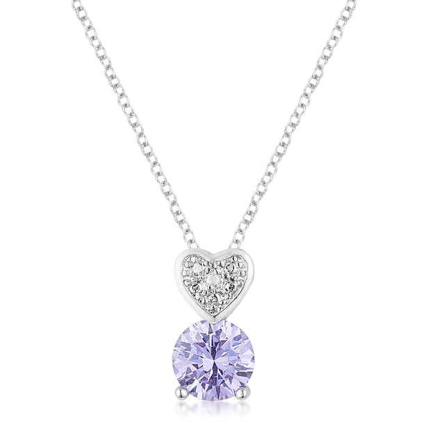 8mm Lavender Cubic Zirconia Fashion Heart Pendant