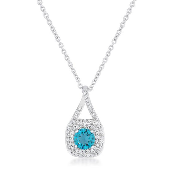 Christal 1.2ct Aqua CZ Rhodium Classic Necklace
