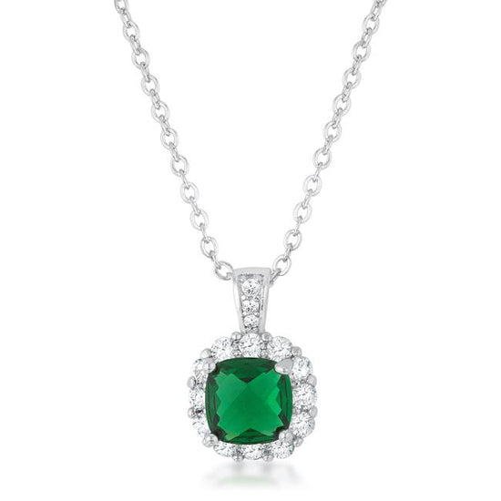 Liz 2.6ct Emerald CZ Rhodium Classic Necklace