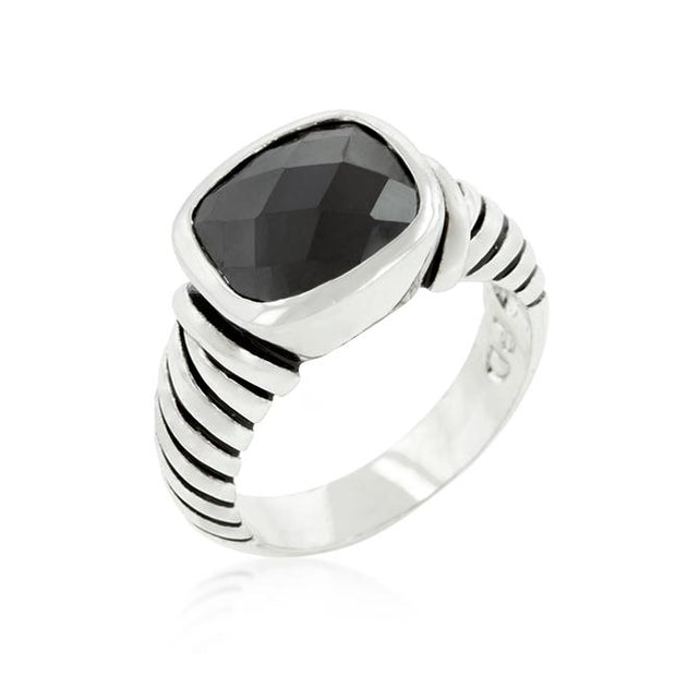 Black CZ Cable Ring