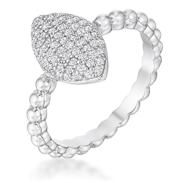 .3Ct Beautiful Oval-Designed Rhodium Ring With Clear CZ