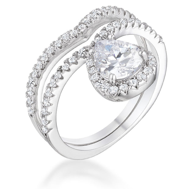 1.75Ct Rhodium Chevron Wedding Set With Clear CZ