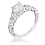 1.55Ct Antique Rhodium Plated CZ Pave Engagement Ring