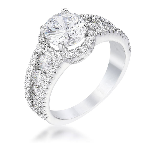 2.1Ct Rhodium Plated Solitaire Engagement Halo Ring