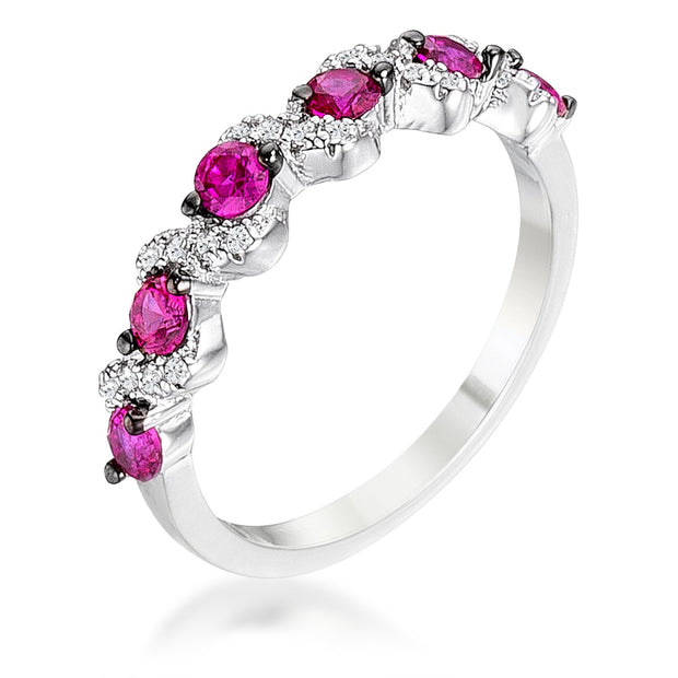 .18Ct Rhodium and Hematite Plated S Shape Fuschia and Clear CZ Half Eternity Band