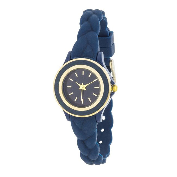 Carmen Braided Ladylike Watch With Blue Rubber Strap