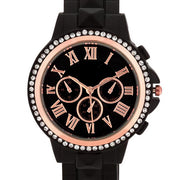 Ava Rose Goldtone Black Metal Watch With Crystals