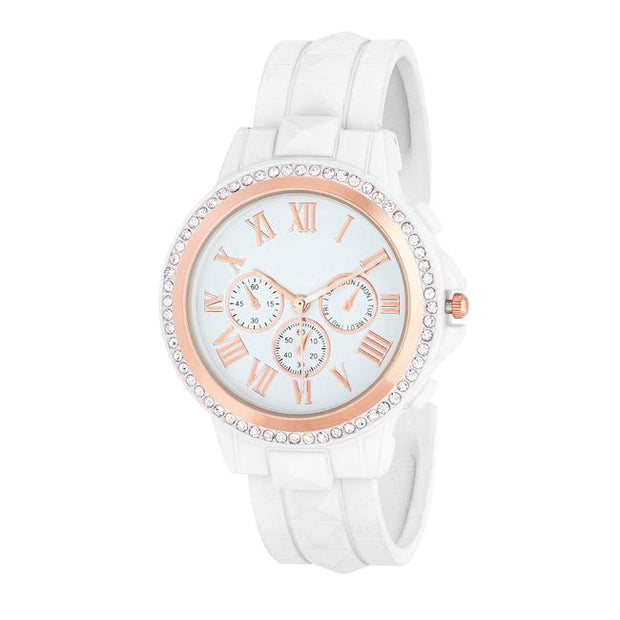 Ava Rose Goldtone White Metal Watch With Crystals