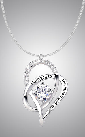 J. Christian Collection - I Love You to the Moon and Back - Heart Necklace Pendant