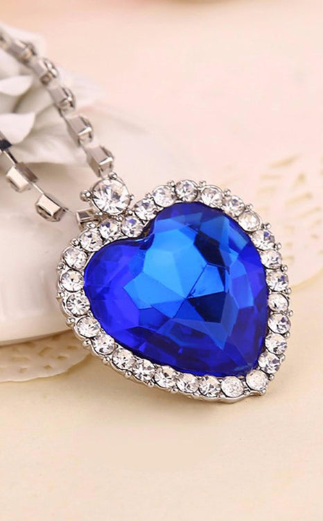 Sapphire Blue Necklace by J. Christian Collection, Heart Of The Ocean, Jewelry For Women - Pendant