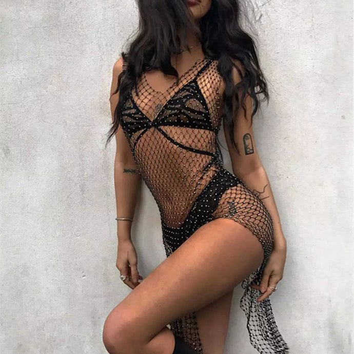 Body Jewelry - Crystal Black Fishnet Dress